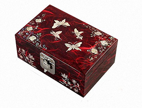 Mother of Pearl Butterfly Flower Design Lacquered Wooden Red Mirrored Jewelry Trinket Keepsake Treasure Gift Box Case Chest Organizer (Mirrored Keepsake Box)