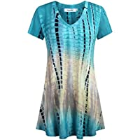 Sixother Womens Tie Dye Tunics Summer Casual Short Sleeves Tops Flowy Blouses