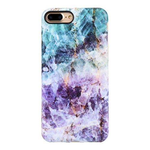 iPhone 7 PLUS Case for girls, Leminimo Purple Quartz TPU Protective Flexible Case For iPhone 7 Plus/iPhone 8 Plus [5.5 inch Display] - Turquoise Purple Quartz