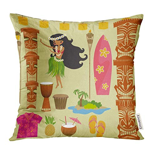 2019 new fashion Throw Pillow Cover Luau Hawaii Symbols and Including Hula Dancer Tiki Gods Totem Pole Drums Torches Hawaiian Party Decorative Pillow Case Home Decor Square 18x18 Pillowcase