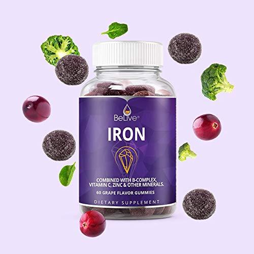 Iron Gummies with Vitamin C, A, Vitamins B Complex, Folate, Zinc, Multivitamins - Supports Energy, No After Taste, Vegan Friendly - Grape Flavor (60 Ct)