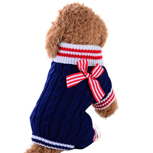 Mikey Store Pet Dog Clothes Soft Thickening Warm Stripe Polar Fleece Winter Clothes (Blue 2, M)]()