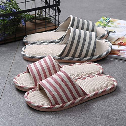 Sandales Slipper Striped Femmes Hommes De Chaussures Plancher Linen pour De Fogun Lin Maison D'été De xqwXItdTf