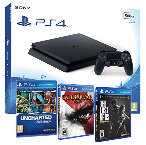 Playstation 4 Consola PS4 Slim 500gb + 5 Juegos – The Last of us + God of war 3 + Uncharted Nathan Drake Collection – MEGAPACK