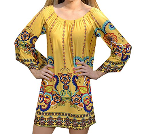 Round Dress Comfy Party Long Womens Comfy Sleeve Neck Yellow Baggy Hq85qw