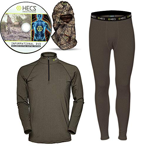 HECS Suit Turkey Base Layer Hunting Clothing with Human Energy Concealment Technology - Thermal 3 Piece Shirt, Pants, Headcover - High Performance Lightweight Breathable Wicking Fabric | X-Large ()