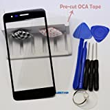 Eaglestar Black Front Panel Outer Screen Glass Lens Replacement for LG Aristo 2 2nd Gen K8 2018 SP200 LMX210MA 5''(Only Glass,No LCD Screen)