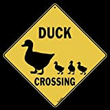 "Duck Silhouette Crossing Sign-12"" by 12"" on Sides Aluminum Sign"
