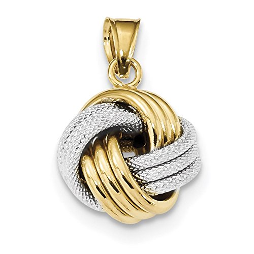 Lex & Lu 14k Two-tone Gold Polished Textured Love Knot Pendant
