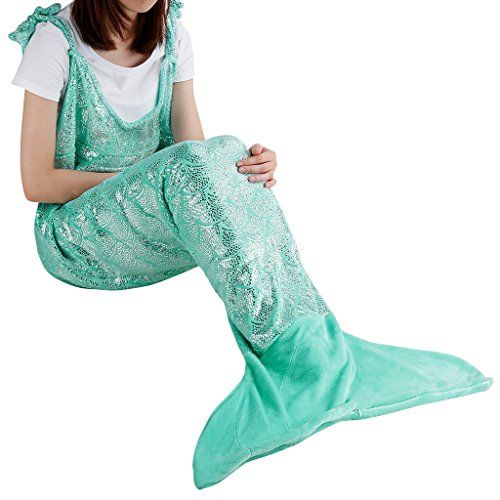 LANGRIA Soft Flannel Mermaid Tail Blanket for Adults Full-Body, All Season Snuggle Sleeping Warm Fishtail Throw Blanket for Bed Sofa Couch (67 x 25, Green)