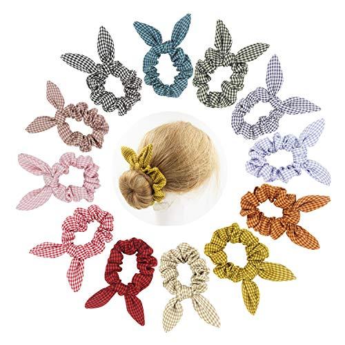 SUSULU Grid Bunny Ear Scrunchies Bow Elastic Hair Ties Women Ponyhair Holder for Accessories 12pcs -  furling, H2167MXUS*12