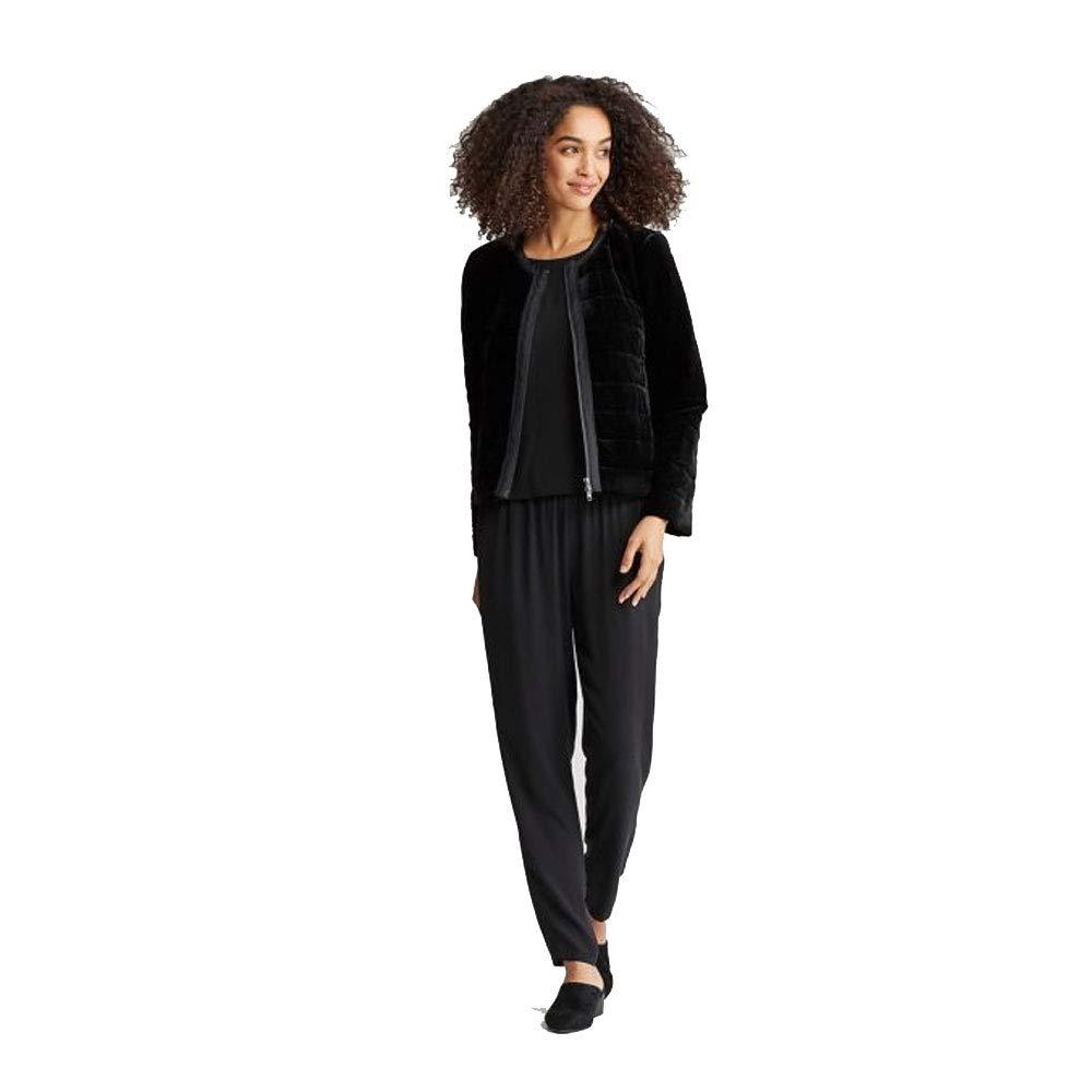 9b4db438f Amazon.com: Eileen Fisher Black Velvet Round Neck Jacket: Clothing