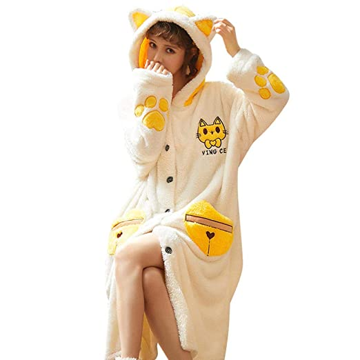 TT Albornoz Mujer Pijama Franela Largo pequeño Gato Amarillo Lindo ...