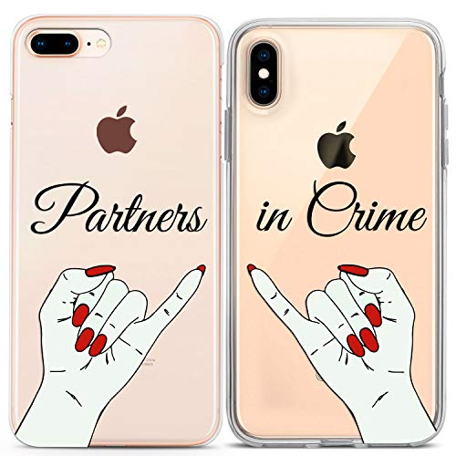 Lex Altern Couple iPhone Case Partners in Crime Xs Max X Xr 10 8 Plus 7 6s 6 SE 5s 5 Clear Present Gift Apple Best Friend Phone Bro Soulmate Cover Anniversary Print Protective Matching Flexible Girly -