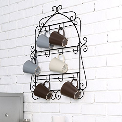 MyGift Wall Mounted Scrollwork Kitchen Organizer