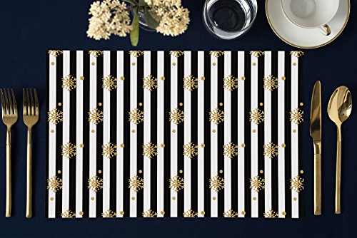 DB Party Studio Holiday Paper Placemats 25 Pack Sparkly Gold Snowflake Table Settings Christmas Office Parties Seasonal Brunch Lunch Dinner Cocktail Soirée Disposable Easy Cleanup 17