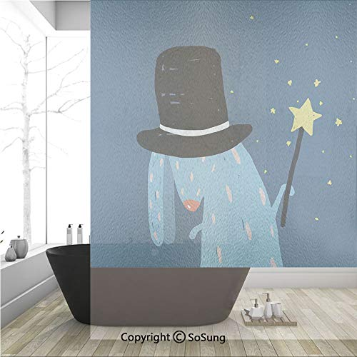 3D Decorative Privacy Window Films,Rabbit with Black Hat Magic Wand Doing Tricks Bizarre Cartoon Style Artwork,No-Glue Self Static Cling Glass Film for Home Bedroom Bathroom Kitchen Office 36x48 Inch