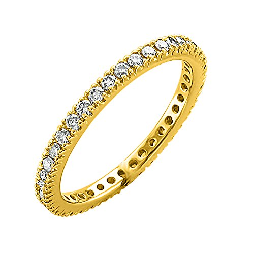 IGI Certified 14K Yellow Gold Prong Set Diamond Eternity Wedding/Anniversary Band Ring (0.48 Carat)