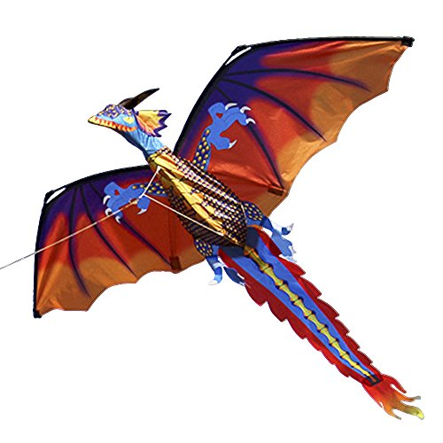 Lixada 140cm x 120cm / 55 x 47 Inch Dragon Kite Single Line Flying Kite with Tail 100m Flying Line for Kids Adults by Lixada