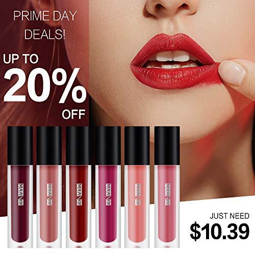 MAANGE 6 Colors Matte Lipstick Set Waterproof Long Lasting Liquid Lip Gloss Set Makeup 6Pcs Kit