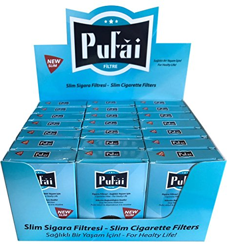 Slim cigarette filters. 525 piece ( 21 turquoise box * 25 filters) disposable slim,slender and super slim size [5 and 6 mm] cigarette filters holder. New 6 hole strong filtration sytem by Pufai.