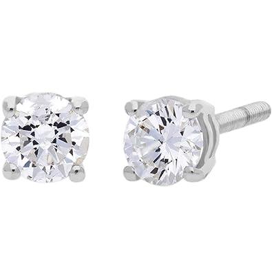 91db54e132de4 9ct White Gold 0.20ct Single Stone Diamond Earrings SKE2534-20 ...