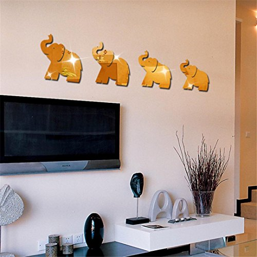 Ussore 4pcs Elephant Mirror Art Wall Sticker Decal For living bedroom kitchen Office (B)
