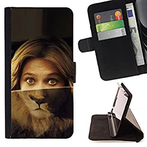 DEVIL CASE - FOR Samsung ALPHA G850 - Portrait Woman Lion Eyes Green Blonde - Style PU Leather Case Wallet Flip Stand Flap Closure Cover