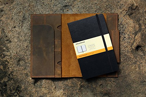 Distressed real leather cover portfolio for MOLESKINE classic notebook Large size Gift wrap