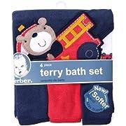 Gerber Newborn Baby Boy Towel and Washcloths Bath Gift Set, 4-Piece