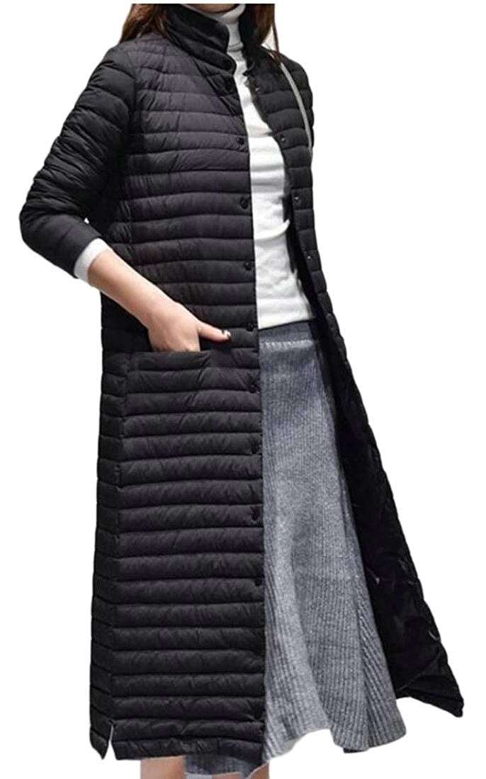 Black omniscient Women Outwear Single Breasted Stand Collar Quilted Down Parka Coat