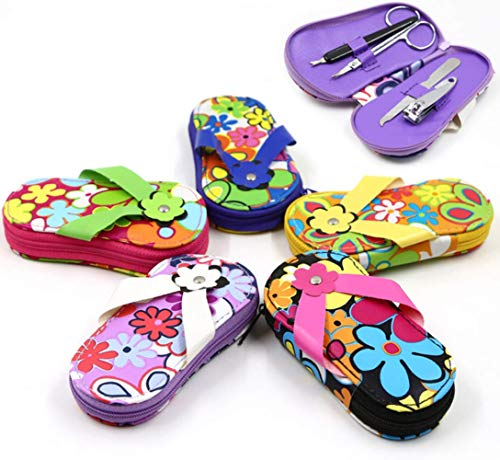 2 Sets Random Assorted Color Flowers Flip Flops Design Personal Care Manicure Set Travelling Nail Dressing Tools Gift for Girls Ladies -
