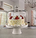 Circleware 55140 Torta Mia Ceramic Cake Plate with Glass Dome, Home and Kitchen Entertainment Utensils Fruit, Ice Cream, Dessert, Salad, Cheese, Candy, Food Serving Platter Stand, 10.5' x 13', White