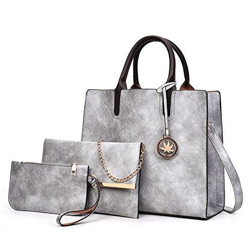 Best buy Designer Purses Sets for Women Grey Handbags 3pcs Leather Satchel Tote