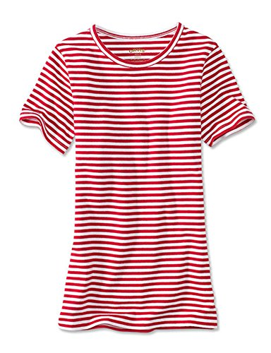 (Orvis Women's Short-Sleeved Striped Perfect Crewneck Tee, Poppy, Large)