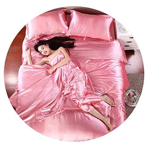 - May Rain Pure Satin Silk Bedding Set,Home Textile King Size Bed Set,Bedclothes,Multi,Family Suite 5pcs