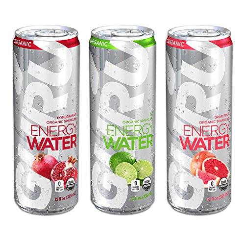 GURU Organic Energy Water, Sugar Free, Zero Calorie, Sparkling Water with Natural Caffeine, 12-Ounce, Variety Pack (12 count)