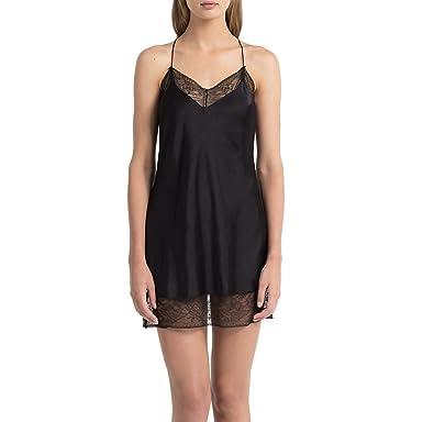 Preis schnell verkaufend erstklassiges echtes Calvin Klein Damen Nachthemd Chemise, Schwarz (Black 001 ...