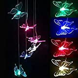 Oxpet LED Solar Wind Chime Outdoor Waterproof Solar Powered LED Changing Light Color Mobile for Home,Party,Festival Decor,Valentines Gift,Night Garden Decoration (Butterfly)