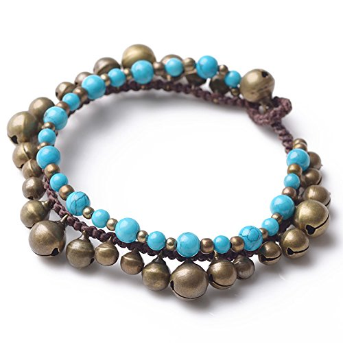 Cyqun Tibetan Turquoise,Copper Beads and Copper Bells Anklet