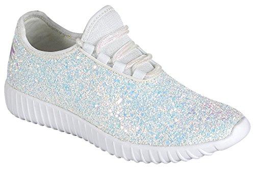 Sport Cambridge Casual Encrusted Closed Up Lace Select Fashion Glitter White Women's Toe Sneaker zqznxBRwfU
