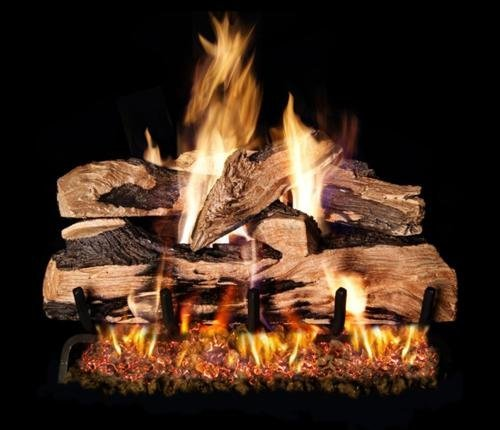 Peterson Real Fyre 24-inch Split Oak Designer Plus Log Set With Vented Natural Gas Ansi Certified G46 Burner - Variable Flame Remote