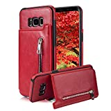 For Samsung Galaxy S8 Pocket Case, Aearl TPU Bumper Shell Back Magnetic Button Closure PU Leather Cover Zipper Wallet Purse Card Holder Photo Frame Slot Kickstand Case for Samsung Galaxy S8 - Red