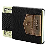 Mens Wallet Minimalist Slim Thin Front Pocket Card Holder - ECSC HUSKK (One Size, Dark Brown-Crazy Horse)