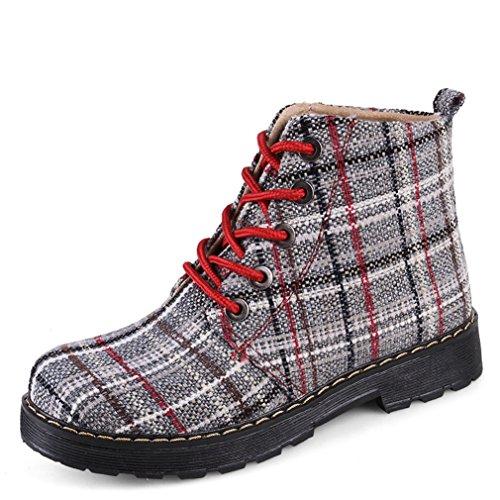 Boots Bottes Respirent Lacets Femmes Martin R Bottines Toile Carreaux Fashion Chaussures Montants Anglais PqafP