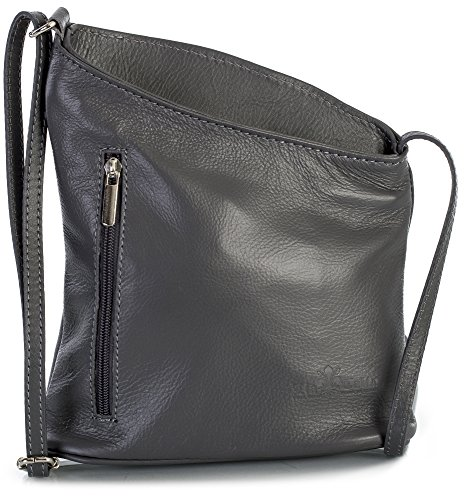 Grey Soft Leather (LiaTalia Mini Asymmetrical Genuine Soft Tuscan Leather Cross Body Bag with Protective storage Bag - Joy Dark Grey)