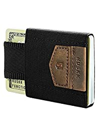 Minimalist Slim Front Pocket Wallet-10 Card Holders-Cash&Keys Small Dark Brown