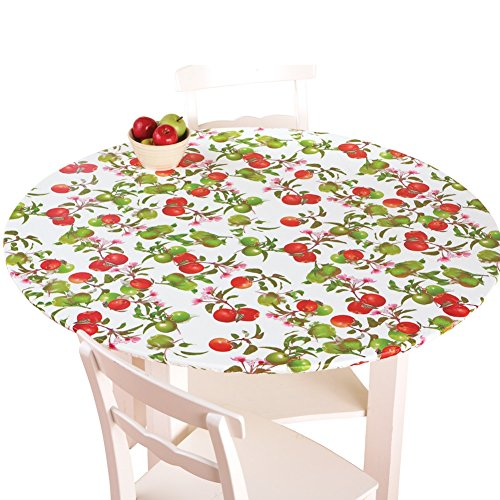 Apple Collection - Collections Etc Fitted Elastic No-Slip Fit Table Cover with Soft Flannel Backing, Apples, Round