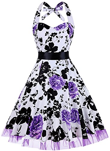 OTEN Womens Vintage Halter Floral Polka Dot 1950s Retro Rockabilly Swing Cocktail Tea Dresses, Small, Purple Floral -