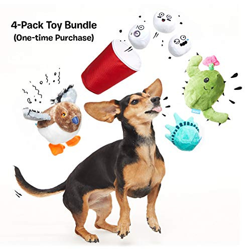 BarkBox Starter Kit Assortment Dog Plush Toys, Chew Toys, Squeak Toys, All-Natural Treats/Chews Made in The USA (4 Toys Value Pack, Small Dog)